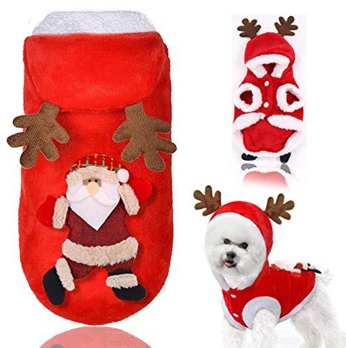 Dusenly Weihnachtshundekostümherbst- und -winterknopf Sankt-Haustierjackengeweih Hoodie, Hundekleidung und Katzenkleidung, Winterhaustierstrickjackehut und Welpenkatze (L)