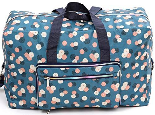 Foldable Large Travel Duffle Bag Waterproof Cute Overnight Carryon Weekender Bag for Women Girl (bule Flower/1)