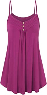 FORUU Wedding Womens Summer Loose Button V Neck Cami Tank Tops Vest Blouse
