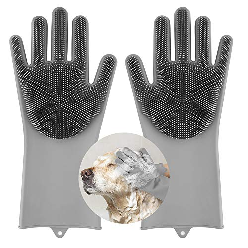 Pawaboo Haustier Silikon Spülhandschuhe, multifunktional Waschhandschuhe Wiederverwendbar Handschuhe Gloves mit Reinigungsbürste für Haustier Hunde Dusche Pet Haarpflege Haushalt Reinigung, Grau