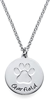 MyNameNecklace Personalized Necklace with Paw Print - Engrave Your Pets Name on Disc Pendant - Pets Lovers Jewelry Gift