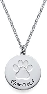 Personalized Necklace with Paw Print - Engrave Your Pets Name on Silver Disc - Jewelry for Any Gift