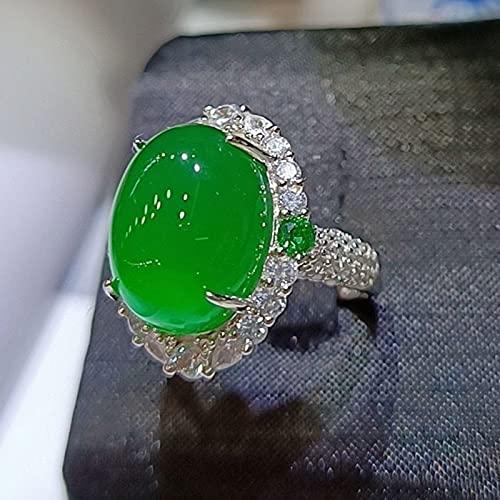 CYXY S925 Anillo de calcedonia Verde Hielo con Incrustaciones de Diamantes completos de Plata Anillo Femenino de Jade de ágata Verde
