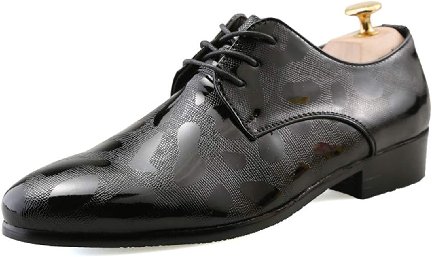 CHENDX shoes, Men's New Floral Embossed Business Oxford Casual British Style Formal shoes (color   Black, Size   7 UK)