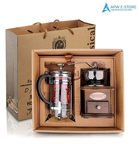APW e-store Regalo cafetera de pistón + – Molinillo de café Manual – Kit Regalo para Amantes de café – cata y decoración: Amazon.es: Hogar