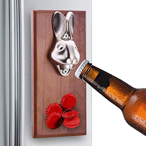 GFFTYX Rustic Wand befestigter Flaschenöffner mit Magnet-Kronkorken Catcher Functional Rustic HauptDécor Upcycled Holz Bier-Öffner-Plakette - Mann (oder Frau) Cave Bereit (Size : 9x20cm)