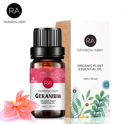 Geranium Essential Oil - 100% Pure, Aromatherapy Therapeutic Grade Essential Oil by RAINBOW ABBY - 10 ml