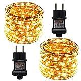 ACDE 2 Piezas Guirnaldas Luces, 10M/100 LED Cadena de Luces Impermeable with EU Enchufe, Decoración para Navidad Jardín Partido Boda - Blanco Cálido