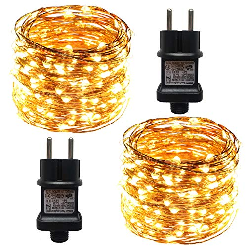 ACDE 2 Pezzi Catena Luminosa 10M/100 LED Stringa Luci Impermeabile con EU Spina Adattatore per Natalizie Festa Nozze Decorazioni - Bianco Caldo