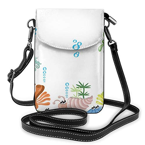 Women Small Cell Phone Purse Crossbody,Aquarium With Seashell Octopus Stones And Bubbles Funny Cartoon Print