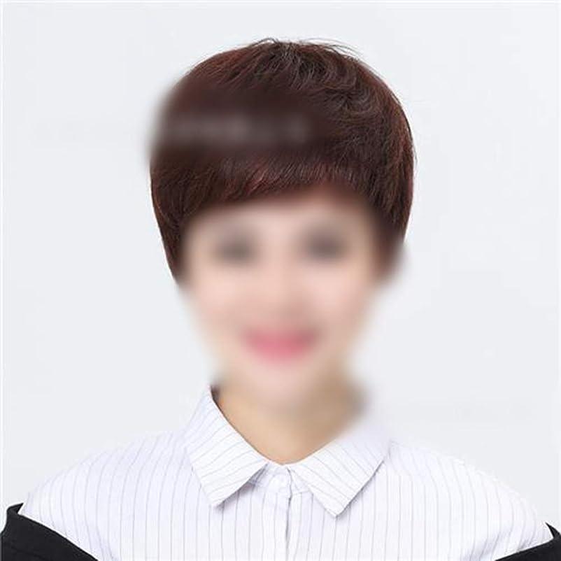 活気づく第二に喪Yrattary ロールプレイングかつらキャップ自然な探している短い髪のフルハンド織リアルヘアウィッグ (色 : Dark brown)