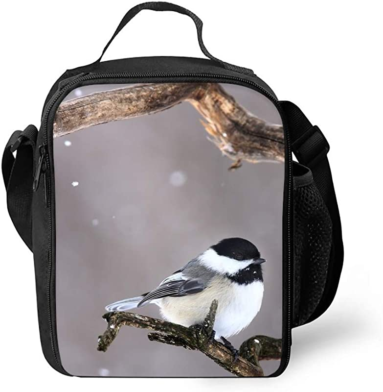 Bird Print Insulated Lunch Tote Bag Lunchbox For Work