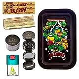 Kit para fumar - Bandeja para liar Tortugas Ninja 27,5cm x 17,5cm + RAW papel de liar (3 unidades) + Grinder metálico THE BOAT 4 partes con rascador - Para su uso en tabaco de liar