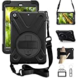 ZenRich iPad Mini Case iPad Mini 2 Case iPad Mini 3 Case-zenrich Rotatable Kickstand Hand Strap and Shoulder Strap Heavy Duty Shockproof case for iPad Mini 123 Series (Black)