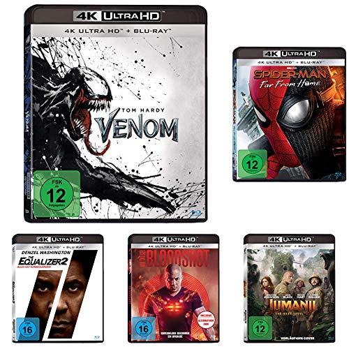 Heldenfilme - Das 5er 4K UHD Film-Boxset (Venom, Spider-Man: Far From Home, Jumanji: The Next Level, Bloodshot, Equalizer 2)