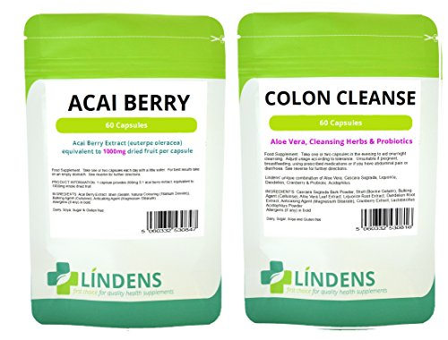 Acai Berry Beere + Darmreiniger Colon Cleanse Kombination verpacken - 1 Monatspackung