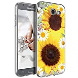 Galaxy J7 Sky Pro Case, Galaxy J7 V Case, Galaxy J7 Perx Case, Ueokeird Clear Soft Flexible TPU Watercolor Flowers Floral Printed Back Cover for Samsung Galaxy J7 2017 (Sunflower)