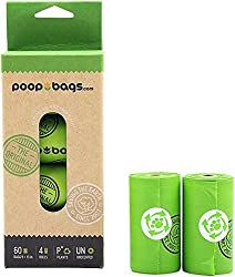 PoopBags The Original Compostable Dog Waste Bags (Pack of 4, 60 Bags)