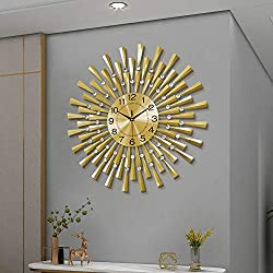 FLEBLE Large Wall Clocks for Living Room Decor Modern Gold Silent Wall Clock Battery Operated Non-Ticking for Bedroom Kitchen Office Home Decorative 24 Inches Retro Crystal Clocks Wall Decor for House