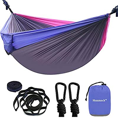 Double Camping Hammock with Tree Straps & Carabiners, Lightweight Nylon Parachute Hammock for Backpacking, Beach, Travel, Hiking, Garden, Easy Assembly Portable Camping Hammocks for 2 Adults
