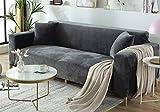 FREEMY Housse de canapé en Velours élastique Universelle Convient à Tous Les canapés avec accoudoirs (Le canapé d'angle en...