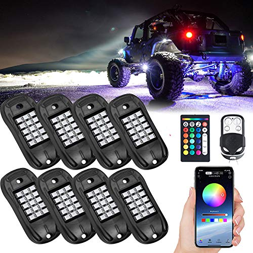 Ustellar RGB LED Rock Lights 8 Pod Remote Multicolor Undercarriage Neon Light Kit Waterproof AUTO Wheel Exterior Underglow Lighting for Golf Ford Chevy Jeep Under Car Truck RV RZR ATV UTV SUV Off Road