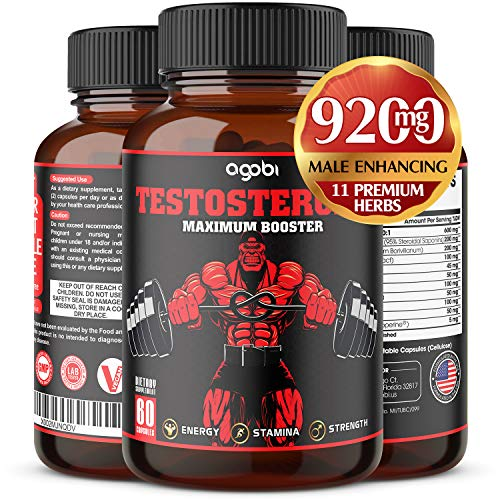 Natural Testosterone Booster For Men 9200mg with Ashwagandha, Tribulus Terrestris, Panax Ginseng and others For Estrogen Blocker, Male Enhancing, Endurance, and Strength-Gluten Free 60 Veggie Capsules