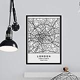 Nacnic Lámina Mapa de la Ciudad London Estilo nordico en Blanco y Negro. Poster tamaño A3 Sin Marco Impreso Papel 250 gr. Cuadros, láminas y Posters para Salon y Dormitorio
