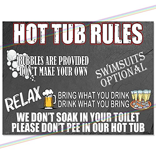 HOT TUB RULES Funny Metal Signs Wall Plaque Slate Effect Tin Sign (27cm x...