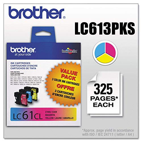 Brother Genuine Standard Yield Color Ink Cartridges, LC613PKS, Replacement 3 Pack of Color Ink,...
