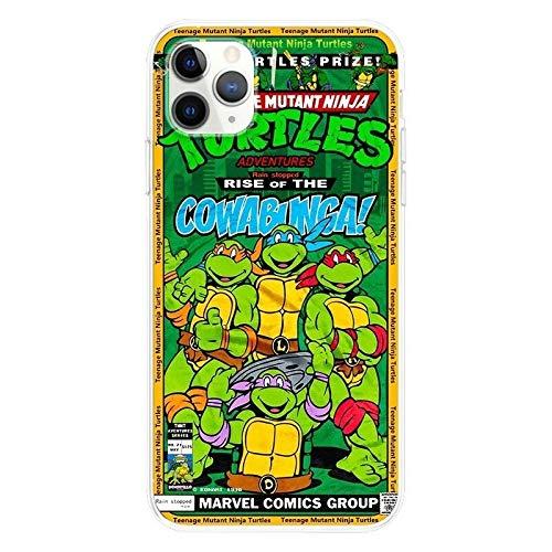 Cómodo al tacto Iphone Caso 11, dibujos animados tortugas ninja parachoques mate de TPU suave de goma de silicona caso cubierta del teléfono, compatible con el iPhone 11 Pro X XS XR Max 6 7 8 6S Plus