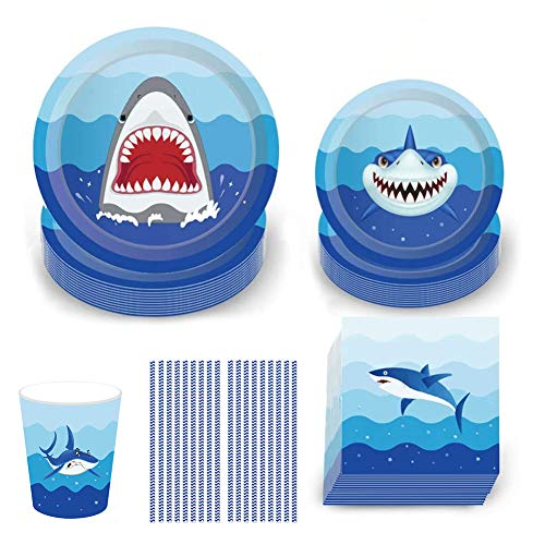 Shark Disposable Tableware Set Shark Party Supplies with Plates Napkins Cups and Straws for Kids Birthday Baby Shower Pool Party Dinner Dessert