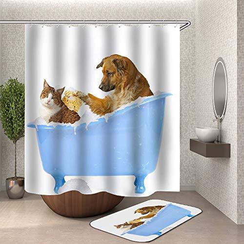Chickwin Cortina de Ducha Antimoho, Perro 3D Impermeable Cortinas Baño de Tela 180X180cm Poliéster Digital Vibrante Impresión Diseño con 12 Anillos
