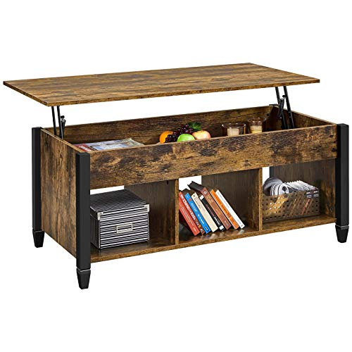 YAHEETECH Rustic Style Lift Top Coffee Table with Hidden Storage Compartment & Shelf, Lift Tabletop Pop-Up Cocktail Table for Living Room, 47.5in L