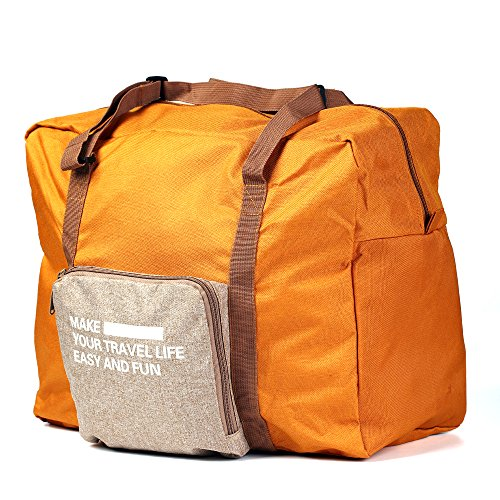 Foldable Lightweight Nylon Duffel Luggage Bag Tote for Travel Large Capacity 4 colors Terracotta