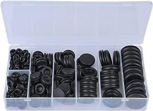 """Juego de arandelas de goma de 200 piezas, negro 3/16"""" 1/8"""" 1/4"""" 5/16"""" 3/8"""" 1/2"""" 5/8"""" 3/4"""" Juego de anillos de sellado de goma"""