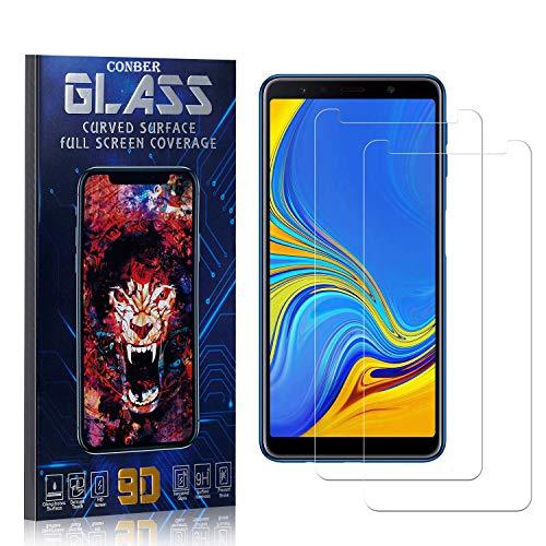 Conber Panzerglasfolie für Samsung Galaxy A7 2018, [2 Stück] 9H gehärtes Glas, Blasenfrei, Kratzfest, Hülle Freundllich Hochwertiger Panzerglas Schutzfolie für Samsung Galaxy A7 2018