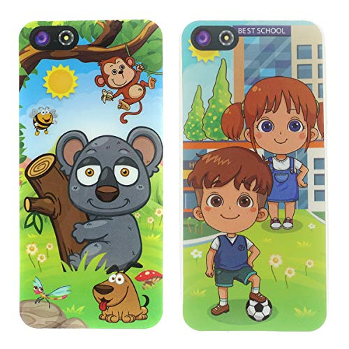 Cooplay 2pcs Black and White Yphone Y-Phone Toy Play Music Cell Phone Mobile Phone Learning English Education Gift for Baby Kids Sets of 2