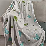 """Glow in The Dark Galaxy Throw Blanket 32""""x 60"""", Grey Soft Couch Car Nap Bed Travel Blanket with Alien UFO Pattern, Furry Cozy Washable All Season Decorative Blanket for Toddle Boys Girls Kids"""