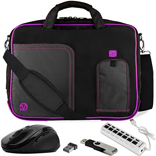 VanGoddy Purple Laptop Messenger Bag w/Flash Drive, Mouse & USB Hub for Dell Inspiron I5378 I5379 I7378 I7373 2-in-1 13.3' Touch-Screen Laptop