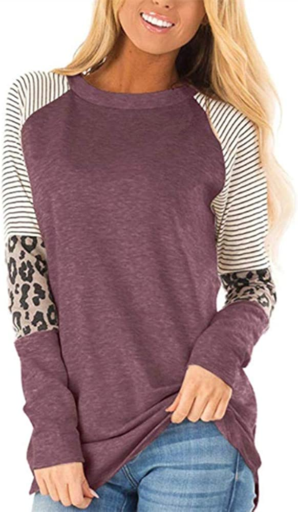 YSDS Forever Women's Leopard Print Color Block T Shirt Blouses Casual Cotton Loose Fitting Tunic Tops