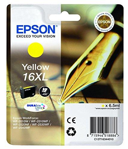 Epson C13T16344010 - Cartucho de tinta, amarillo,paquete estándar, XL válido para los modelos WorkForce WF-2010W, WF-2660DWF, WF-2750DWF, WF-2760DWF y otros