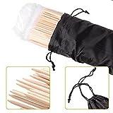 Marshmallow Bambusspieß XXL Lagerfeuerstöcke - 90 cm lang, 5mm dicke Holzspieße, 110 Stück, inkl. Stofftasche für einfache Aufbewahrung