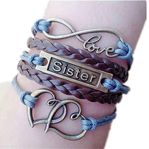 ODETOJOY Oneindige harten zus Infinity karma blauw gestrandt mode hart hart armband in antiek brons donkerbruin gevlochten leer vriendschap cadeau-idee