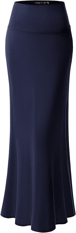 URBAN K Womens Basic Foldable High Waist Regular and Plus Size Maxi Skirts