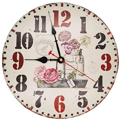 VieVogue Retro Houten Wandklok, Grote Vintage Rustieke Kleurrijke Niet -Ticking Stille Decoratieve Houten Clck voor Gift Home Office Keuken Kwekerij Woonkamer Slaapkamer
