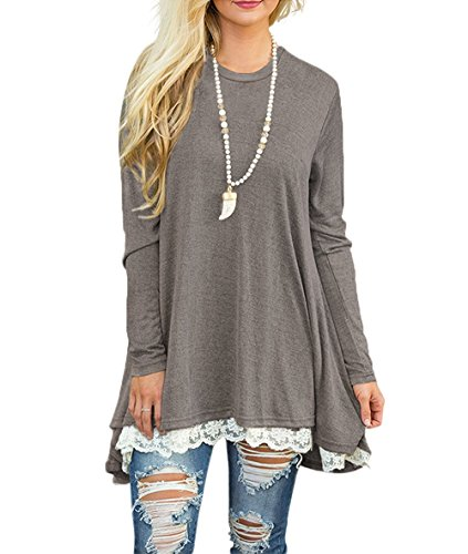 WEKILI Women's Tops Long Sleeve Lace Scoop Neck A-line Tunic Blouse Gray S/US 4-6