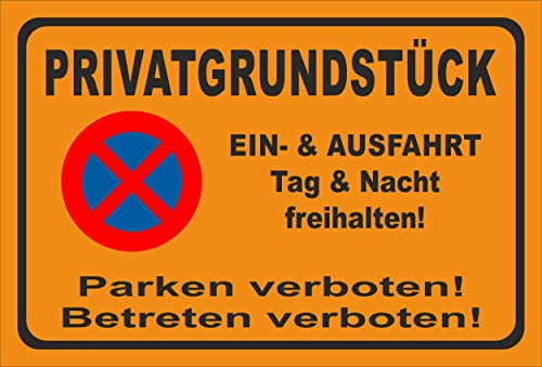 KE-Partyzubehör Schild 45x30cm Parken verboten - Privatgrundstück - 3mm Aluverbund | Bohrlöcher - 20 Varianten