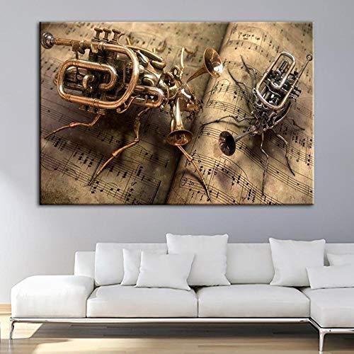 woplmh Wohnkultur Malerei HD Bilder Drucke Vintage Steampunk Musik Wandkunst HD Modulare Leinwand Poster Bedside-60x100cmx1 / kein Rahmen