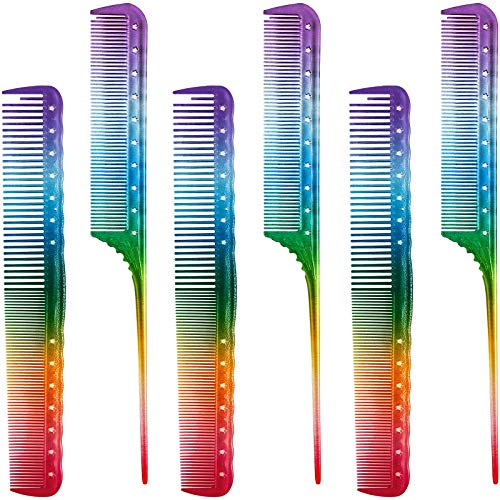 6 Pieces Rainbow Hair Comb Hair Cutting Comb Salon Hair Comb Rainbow Rat Tail Comb Portable Hair Cutting Combs for Most Hair Types